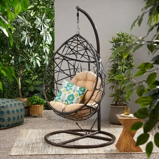 Outdoor Brown Wicker Tear Drop Swinging Chair by Christopher Knight Home