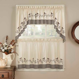 Birds Chocolate 5-piece Curtain Tier and Swag Set