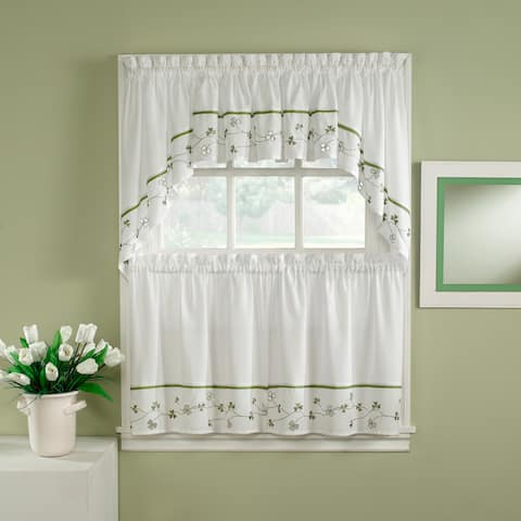 Clover Green/ White 5-piece Curtain Tier and Swag Set