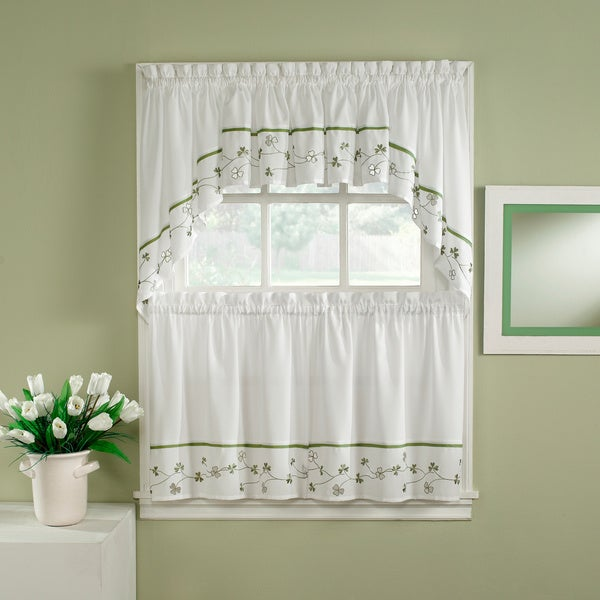 Https Www Overstock Com Home Garden Clover Green White 5 Piece Curtain Tier And Swag Set 8784516 Product Html