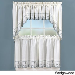 Abby Embroidered 5-piece Curtain Tier and Swag Set
