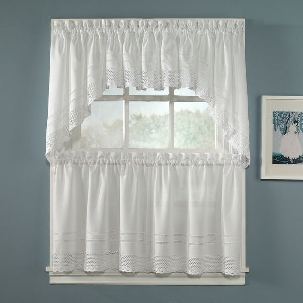 Crochet White 5-piece Curtain Tier and Swag Set