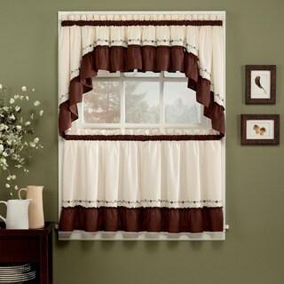 Jayden Chocolate 5-piece Curtain Tier and Swag Set