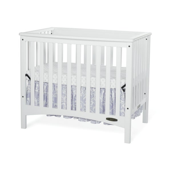 Child Craft London White Euro Mini 2-in-1 Convertible Crib with Mattress