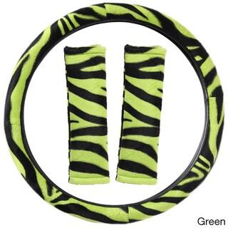 Oxgord Safari Zebra/ Tiger Plush Auto Steering Wheel Cover and Belt Pads Set (Option: Green)