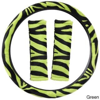 Oxgord Safari Zebra/ Tiger Plush Auto Steering Wheel Cover and Belt Pads Set