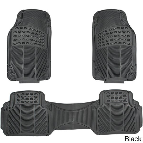 Oxgord Ridged Style Rugged 3-piece PVC Rubber Floor Mats Set