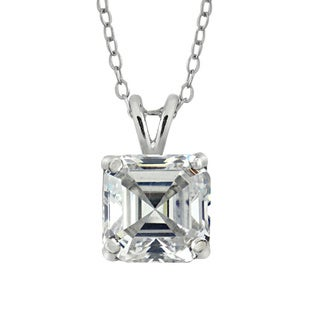 Icz Stonez Sterling Silver 7mm Cubic Zirconia Square Necklace