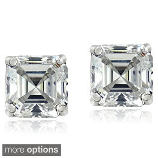 Icz Stonez Sterling Silver 5 mm Cubic Zirconia Square Earrings