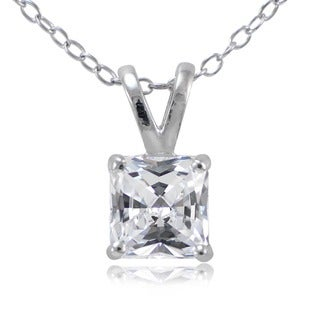 Icz Stonez Sterling Silver Square-cut Cubic Zirconia Necklace