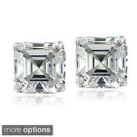 Icz Stonez Sterling Silver 7 mm Square-cut Cubic Zirconia Earrings