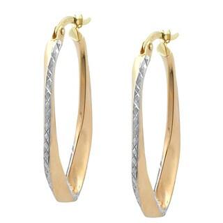 Fremada 10k Two-tone Gold Polished and Diamond-cut Oval Twist Hoop Earrings