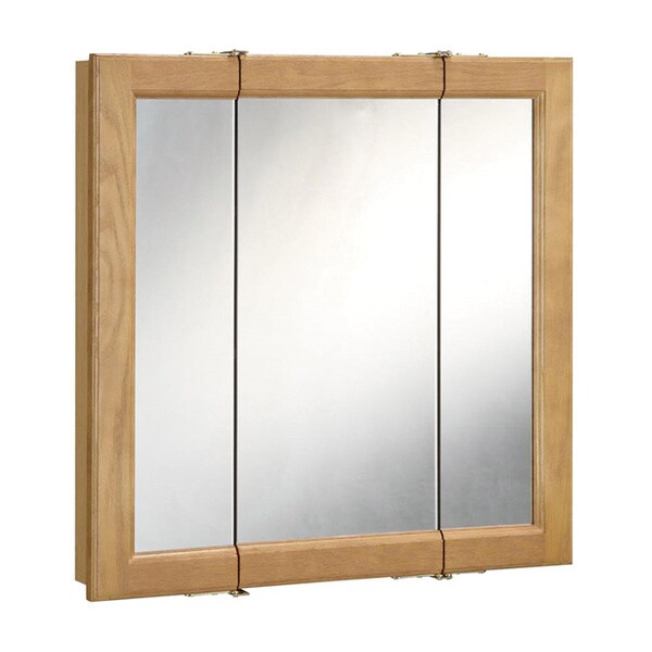 richland 30 inch 3 door nutmeg oak tri view medicine cabinet mirror