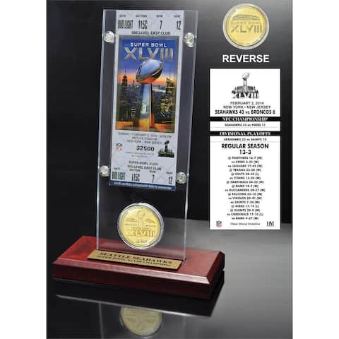 Seattle Seahawks Super Bowl 48 Champions Ticket and Minted Coin Desktop Acrylic