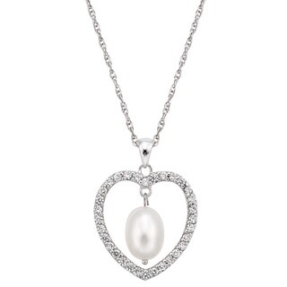 Pearlyta Sterling Silver CZ Heart Freshwater Pearl Necklace (8 - 8.5mm)
