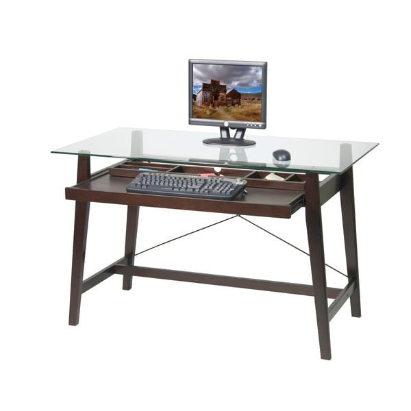 Tribeca 42-inch Espresso Glass-top Computer Desk - Free Shipping Today -  Overstock.com - 16023451