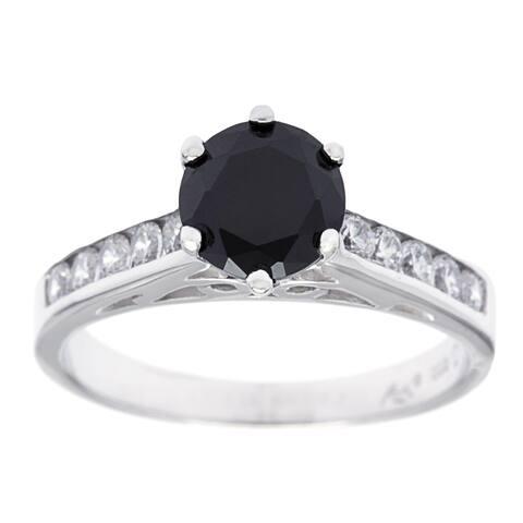 Roberto Martinez Silver Channel Set Black Cubic Zirconia Solitaire Ring