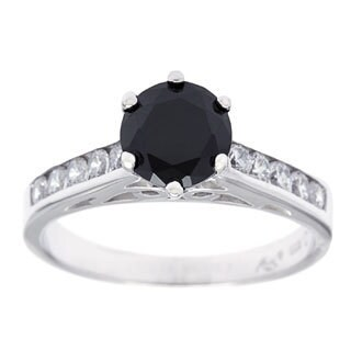 Roberto Martinez Silver Channel Set Black Cubic Zirconia Solitaire Ring