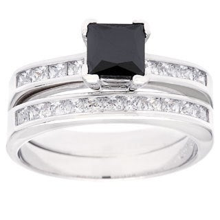 Sterling Essentials Sterling Silver Princess Cut Black Cubic Zirconia Engagement Ring Set