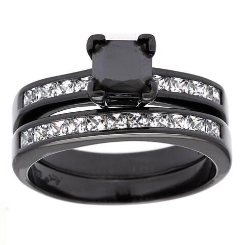 Roberto Martinez Black Rhodium-plated Silver Princess-cut Black CZ Engagement Ring Set
