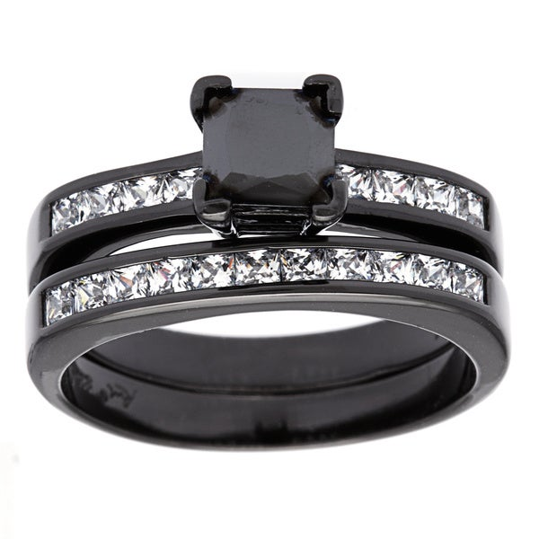 Sterling Essentials Black Rhodiumplated Silver Princesscut Black