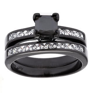 Roberto Martinez Black Rhodium Plated Silver Princess Cut Black CZ Engagement Ring Set