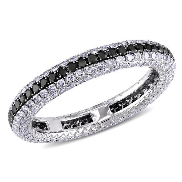 Miadora Signature Collection 14k Gold 1.25ct TDW Black and White Diamond Eternity Anniversary Ring (G-H, SI1-SI2)