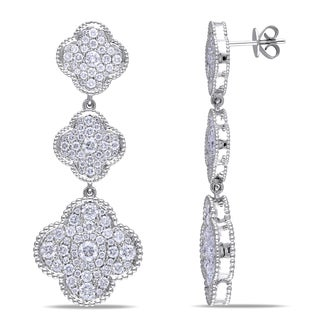 Miadora 14k White Gold 4 1/2ct TDW Diamond Flower Earrings (G-H, SI1-SI2)