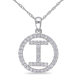 "Miadora 14k White Gold 1/2ct TDW Diamond ""I"" Initial Necklace (G-H, SI1-SI2)"