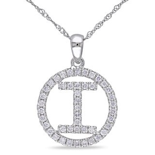 "Miadora 14k White Gold 1/2ct TDW Diamond ""I"" Initial Necklace"