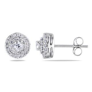 Miadora 14k White Gold 1/2ct TDW Diamond Halo Earrings
