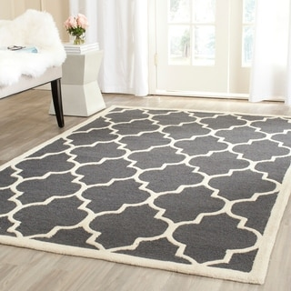 Safavieh Handmade Moroccan Cambridge Dark Grey/ Ivory Wool Rug (5' x 8')
