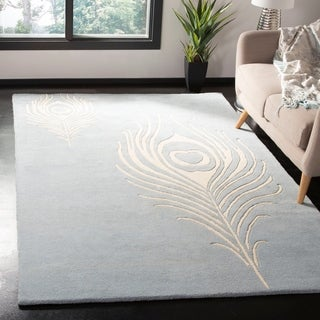 Safavieh Handmade Soho Light Blue/ Ivory New Zealand Wool/ Viscose Rug (5' x 8')