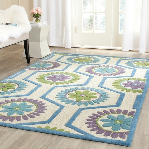 Safavieh Moroccan Blue And Black Area Rug: Safavieh Handmade Moroccan Cambridge Ivory/ Blue Wool Rug