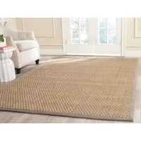 Safavieh Casual Natural Fiber Natural and Grey Border Seagrass Rug (4' x 6') - 4' x 6'