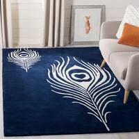Safavieh Handmade Soho Navy/ Ivory New Zealand Wool/ Viscose Rug - 3'6 x 5'6