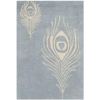 Safavieh Handmade Soho Light Blue/ Ivory New Zealand Wool/ Viscose Rug (2' x 3')