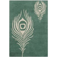 Safavieh Handmade Soho Teal/ Ivory New Zealand Wool/ Viscose Rug - 2' X 3'