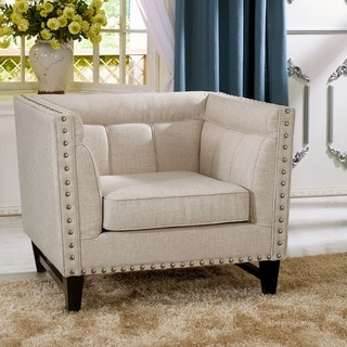 Baxton Studio Stapleton Beige Linen Modern Accent Chair