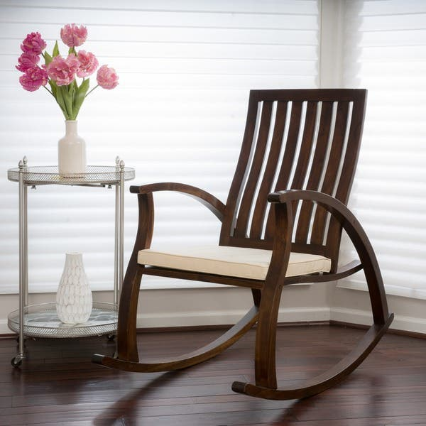 Sensational Shop Abraham Brown Mahogany Wood Rocking Chair W Cushion By Evergreenethics Interior Chair Design Evergreenethicsorg