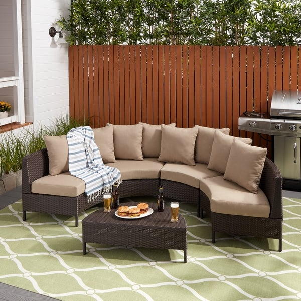 Christopher Knight Home Newton Outdoor 5 Piece Wicker Lounge Set   Free  Shipping Today   Overstock.com   16023611