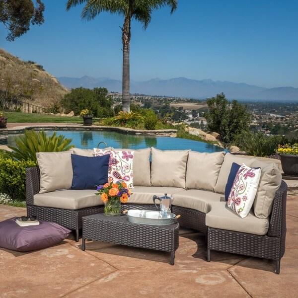 Newton Outdoor 5-piece Dark Brown Wicker Lounge Set by Christopher Knight Home