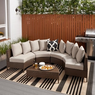 Newton Outdoor 5-piece Dark Brown Wicker Lounge Set by Christopher Knight Home