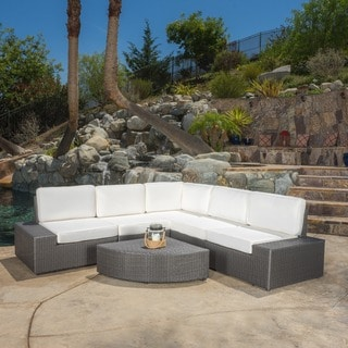 Christopher Knight Home Santa Cruz Outdoor 6-piece Grey Wicker Sofa Set