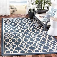 Safavieh Courtyard Geometric Poolside Navy/ Beige Indoor/ Outdoor Rug - 8' x 11'
