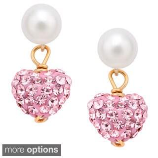 Pearlyta 14k Gold Children Freshwater Pearl Cubic Zirconia Heart Hanging Earrings (5 mm)