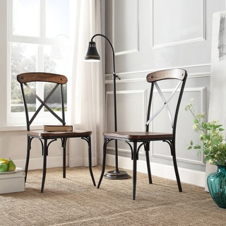 Nelson Industrial Modern Rustic Cross Back Dining Chair by iNSPIRE Q Classic (Set of 2)
