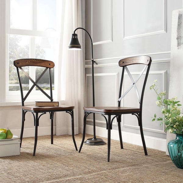 Nelson Industrial Modern Rustic Cross Back Dining Chair by iNSPIRE Q ...