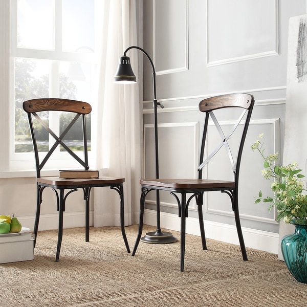 Nelson Industrial Modern Rustic Cross Back Dining Chair by iNSPIRE Q Classic (Set of 2 & Nelson Industrial Modern Rustic Cross Back Dining Chair by iNSPIRE ... islam-shia.org