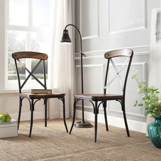 Nelson Industrial Modern Rustic Cross Back Dining Chair by iNSPIRE Q Classic (Set of 2)|https://ak1.ostkcdn.com/images/products/8785043/P16023681.jpg?impolicy=medium